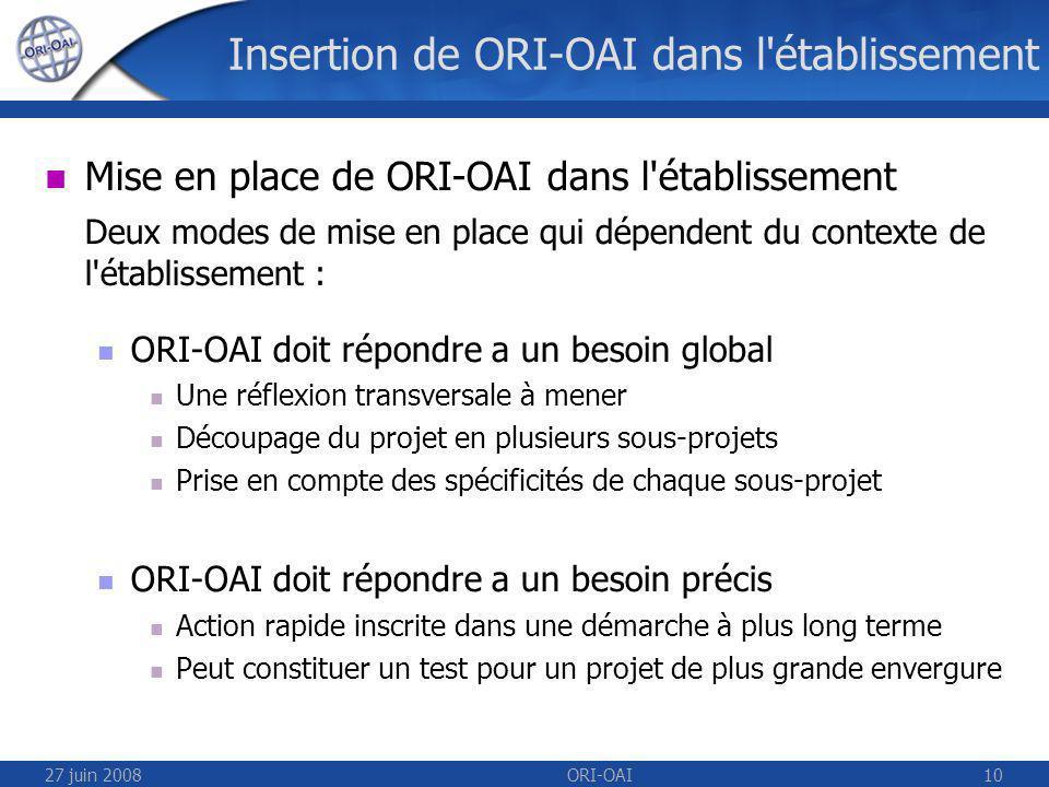 27 juin 2008ORI-OAI10 Insertion de ORI-OAI dans l établissement Mise en place de ORI-OAI dans l établissement Deux modes de mise en place qui dépendent du contexte de l établissement : ORI-OAI doit répondre a un besoin global Une réflexion transversale à mener Découpage du projet en plusieurs sous-projets Prise en compte des spécificités de chaque sous-projet ORI-OAI doit répondre a un besoin précis Action rapide inscrite dans une démarche à plus long terme Peut constituer un test pour un projet de plus grande envergure