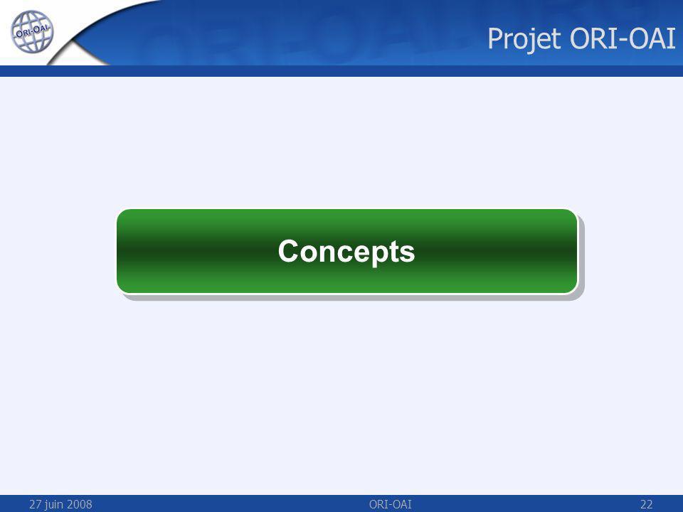 27 juin 2008ORI-OAI22 Concepts Projet ORI-OAI