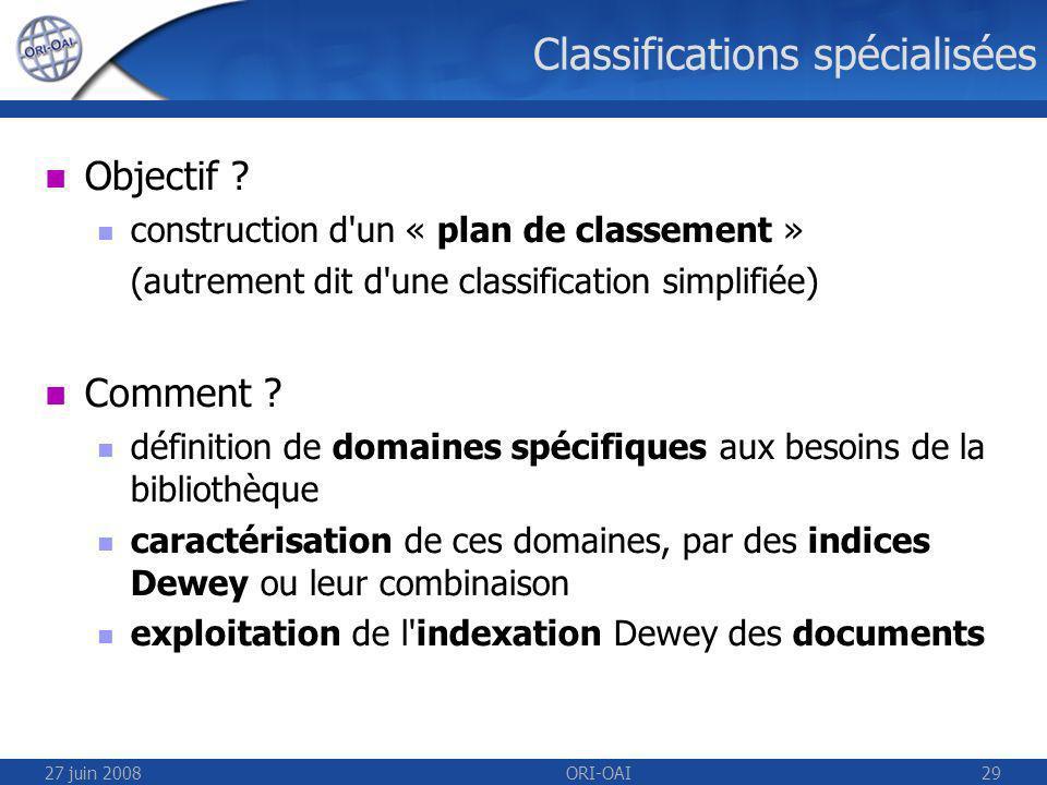 27 juin 2008ORI-OAI29 Classifications spécialisées Objectif .