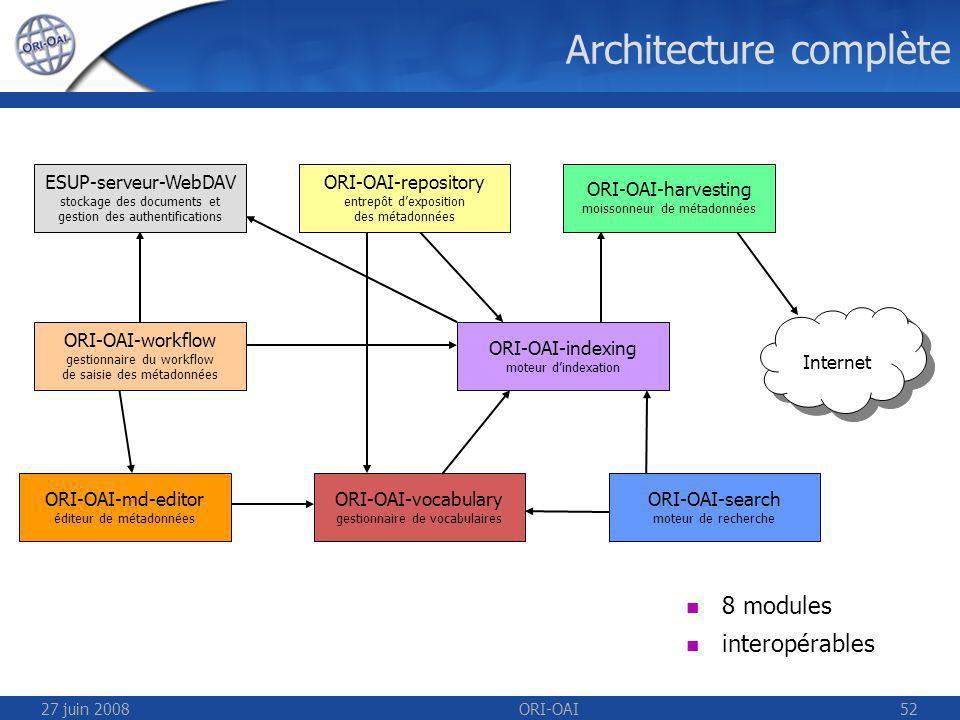 27 juin 2008ORI-OAI52 Architecture complète ESUP-serveur-WebDAV stockage des documents et gestion des authentifications ORI-OAI-repository entrepôt dexposition des métadonnées ORI-OAI-indexing moteur dindexation ORI-OAI-workflow gestionnaire du workflow de saisie des métadonnées ORI-OAI-vocabulary gestionnaire de vocabulaires ORI-OAI-harvesting moissonneur de métadonnées ORI-OAI-search moteur de recherche 8 modules interopérables ORI-OAI-md-editor éditeur de métadonnées Internet