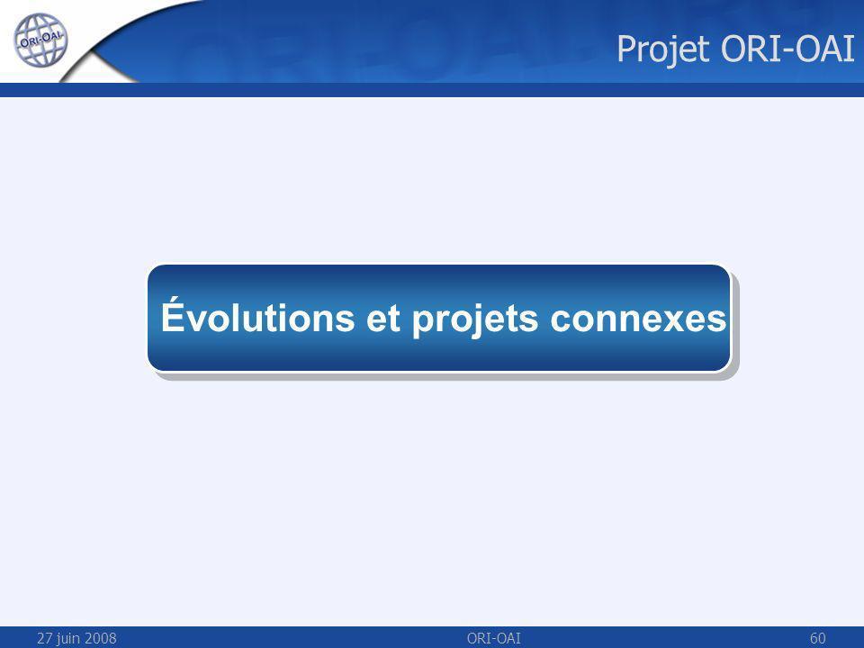 27 juin 2008ORI-OAI60 Évolutions et projets connexes Projet ORI-OAI