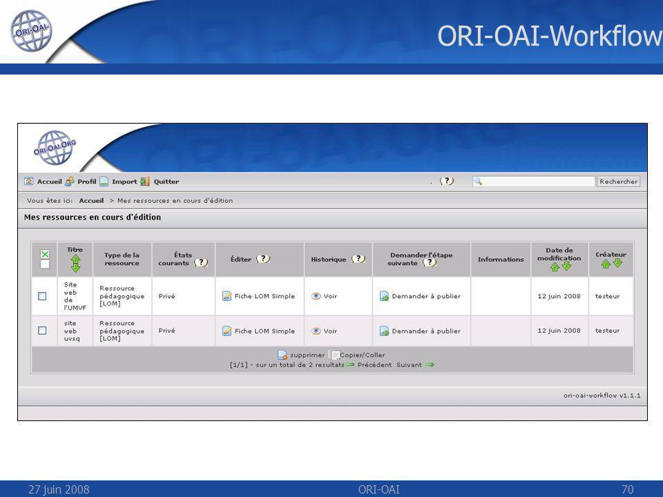 27 juin 2008ORI-OAI70 ORI-OAI-Workflow