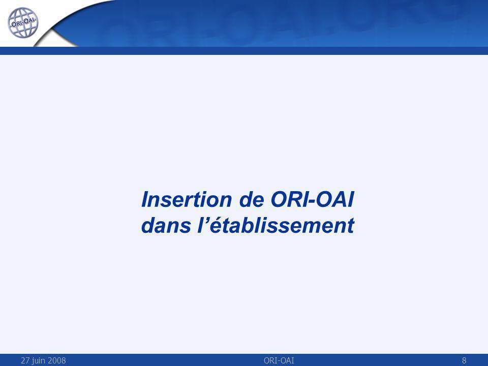 27 juin 2008ORI-OAI8 Insertion de ORI-OAI dans létablissement
