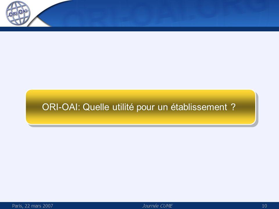 Paris, 22 mars 2007Journée CUME10 ORI-OAI: Quelle utilité pour un établissement ?