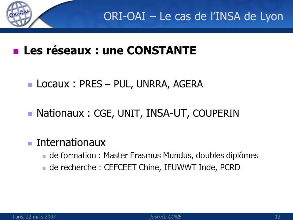 Paris, 22 mars 2007Journée CUME12 ORI-OAI – Le cas de lINSA de Lyon Les réseaux : une CONSTANTE Locaux : PRES – PUL, UNRRA, AGERA Nationaux : CGE, UNI