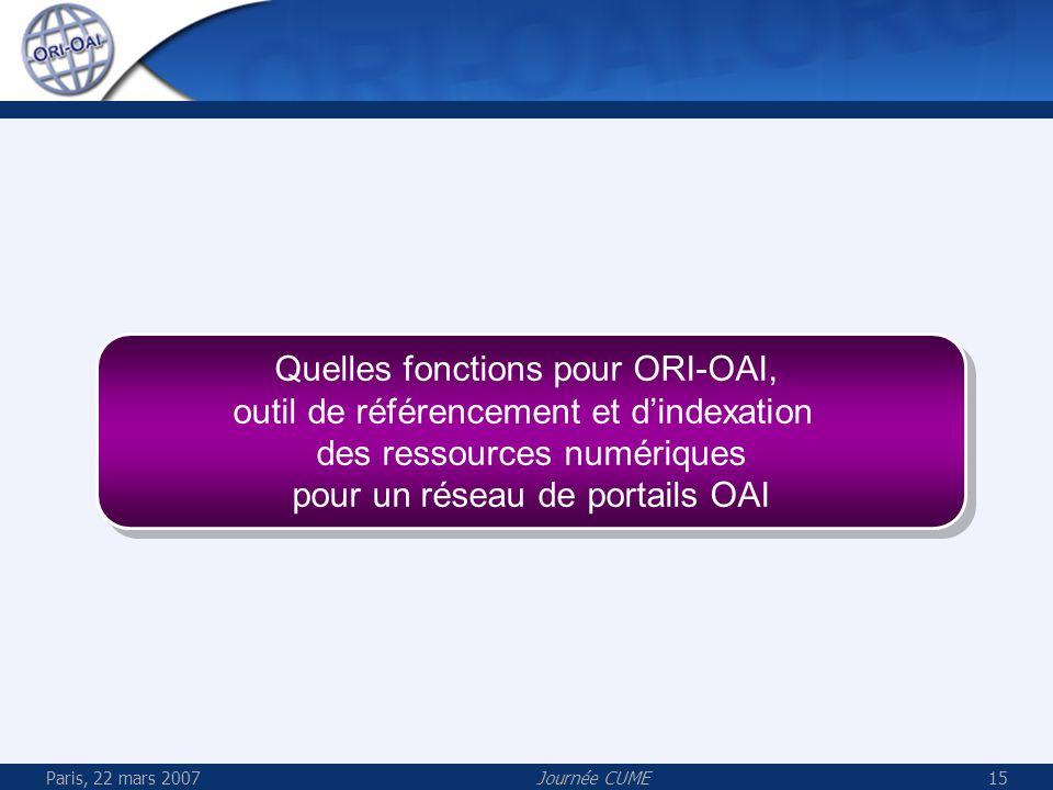 Paris, 22 mars 2007Journée CUME15 Quelles fonctions pour ORI-OAI, outil de référencement et dindexation des ressources numériques pour un réseau de po