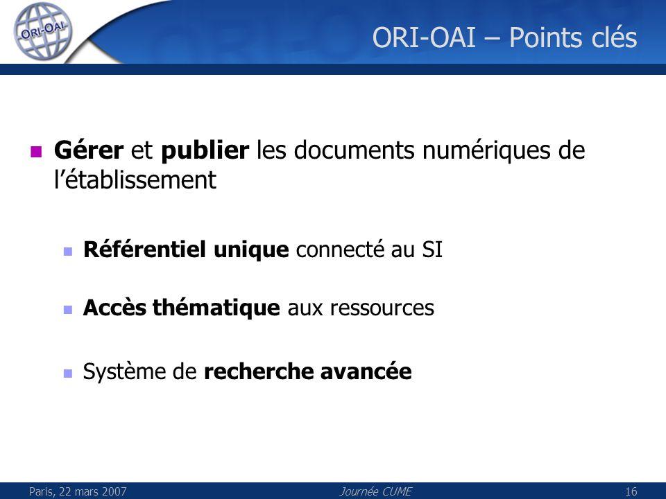 Paris, 22 mars 2007Journée CUME16 ORI-OAI – Points clés Gérer et publier les documents numériques de létablissement Référentiel unique connecté au SI