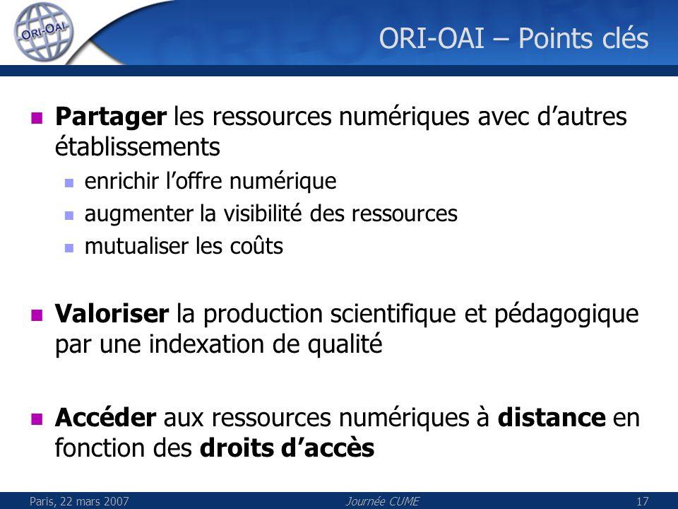 Paris, 22 mars 2007Journée CUME17 ORI-OAI – Points clés Partager les ressources numériques avec dautres établissements enrichir loffre numérique augme