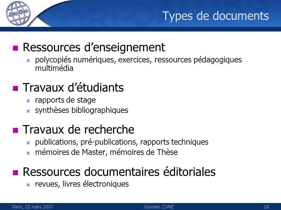 Paris, 22 mars 2007Journée CUME18 Types de documents Ressources denseignement polycopiés numériques, exercices, ressources pédagogiques multimédia Tra