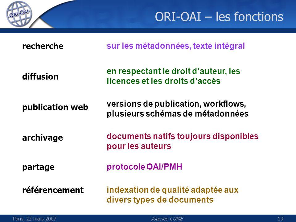 Paris, 22 mars 2007Journée CUME19 ORI-OAI – les fonctions indexation de qualité adaptée aux divers types de documents sur les métadonnées, texte intég