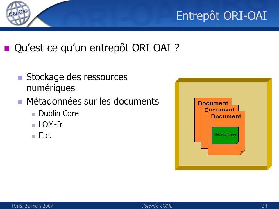 Paris, 22 mars 2007Journée CUME24 Entrepôt ORI-OAI Document Quest-ce quun entrepôt ORI-OAI ? Stockage des ressources numériques Métadonnées sur les do