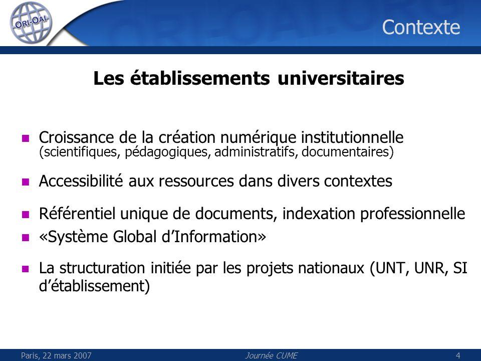 Paris, 22 mars 2007Journée CUME4 Contexte Les établissements universitaires Croissance de la création numérique institutionnelle (scientifiques, pédag