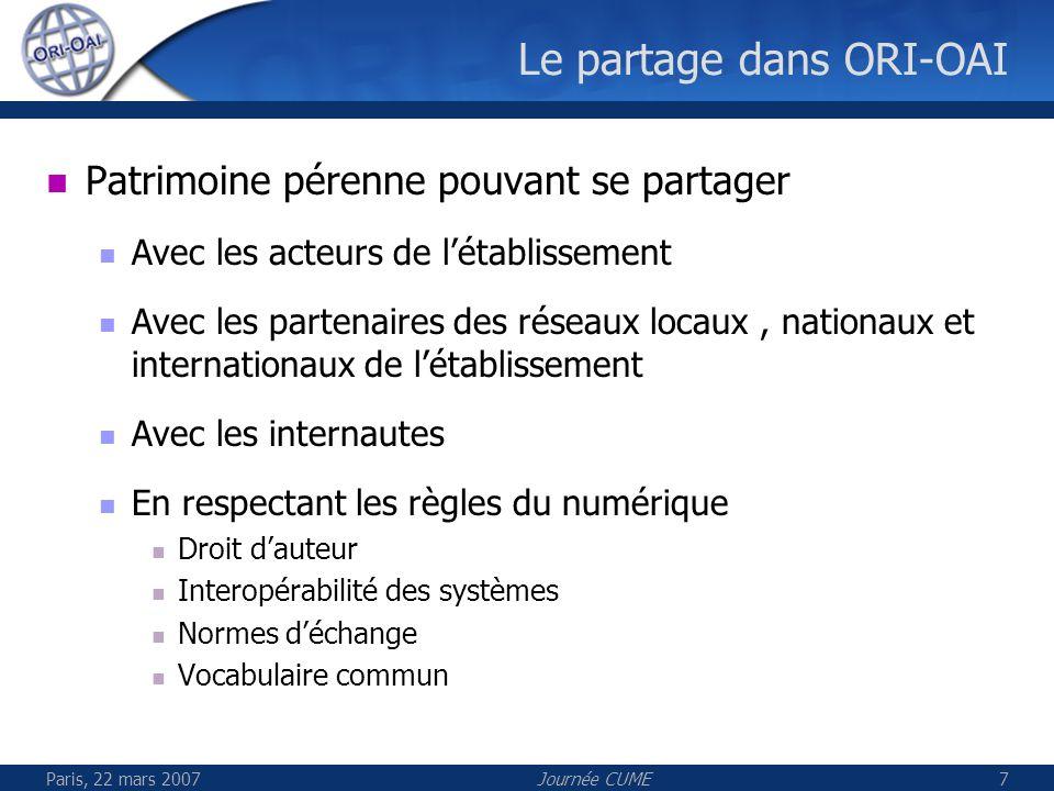 Paris, 22 mars 2007Journée CUME7 Le partage dans ORI-OAI Patrimoine pérenne pouvant se partager Avec les acteurs de létablissement Avec les partenaire