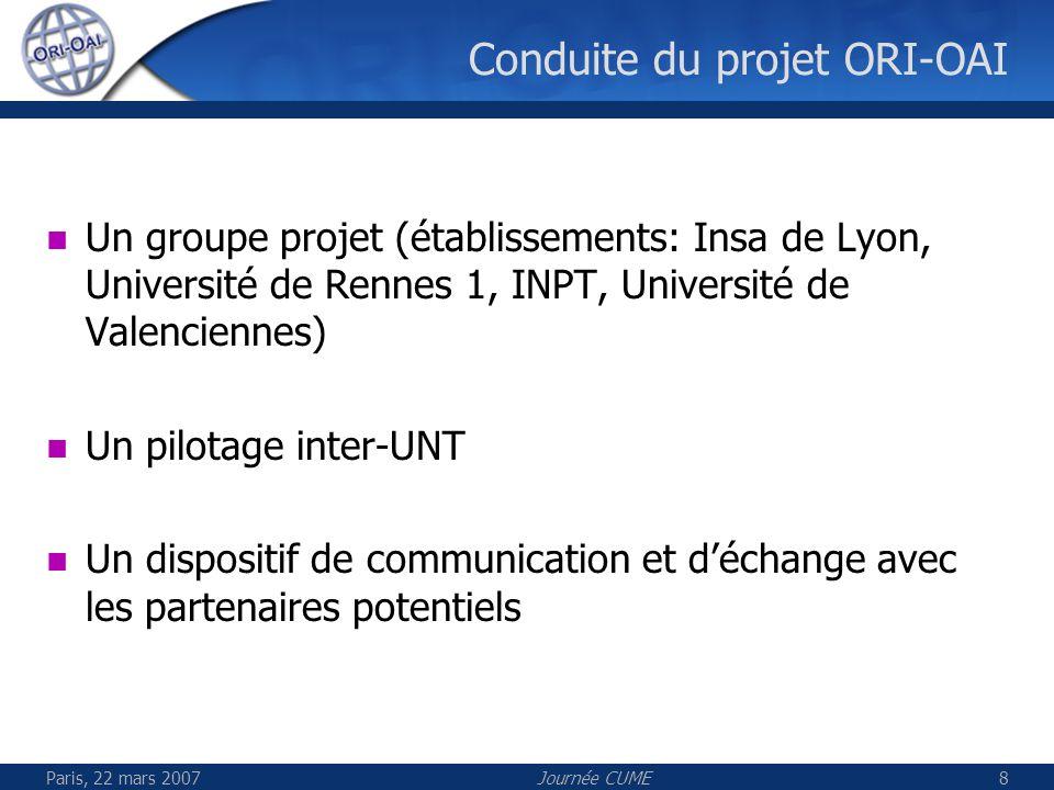 Paris, 22 mars 2007Journée CUME8 Conduite du projet ORI-OAI Un groupe projet (établissements: Insa de Lyon, Université de Rennes 1, INPT, Université d