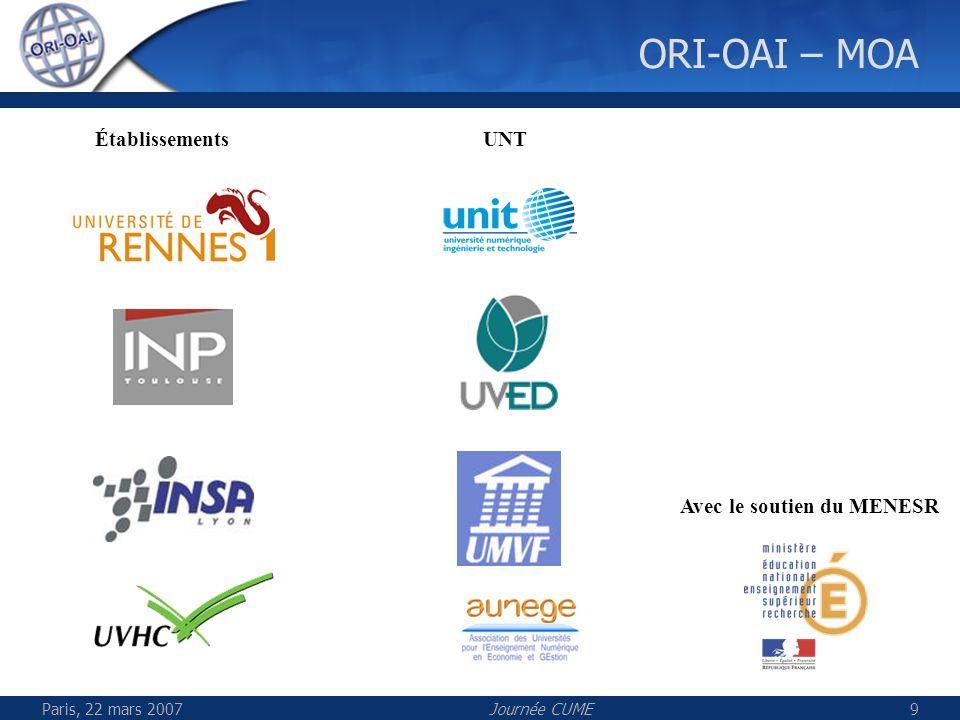 Paris, 22 mars 2007Journée CUME9 ORI-OAI – MOA Avec le soutien du MENESR UNTÉtablissements