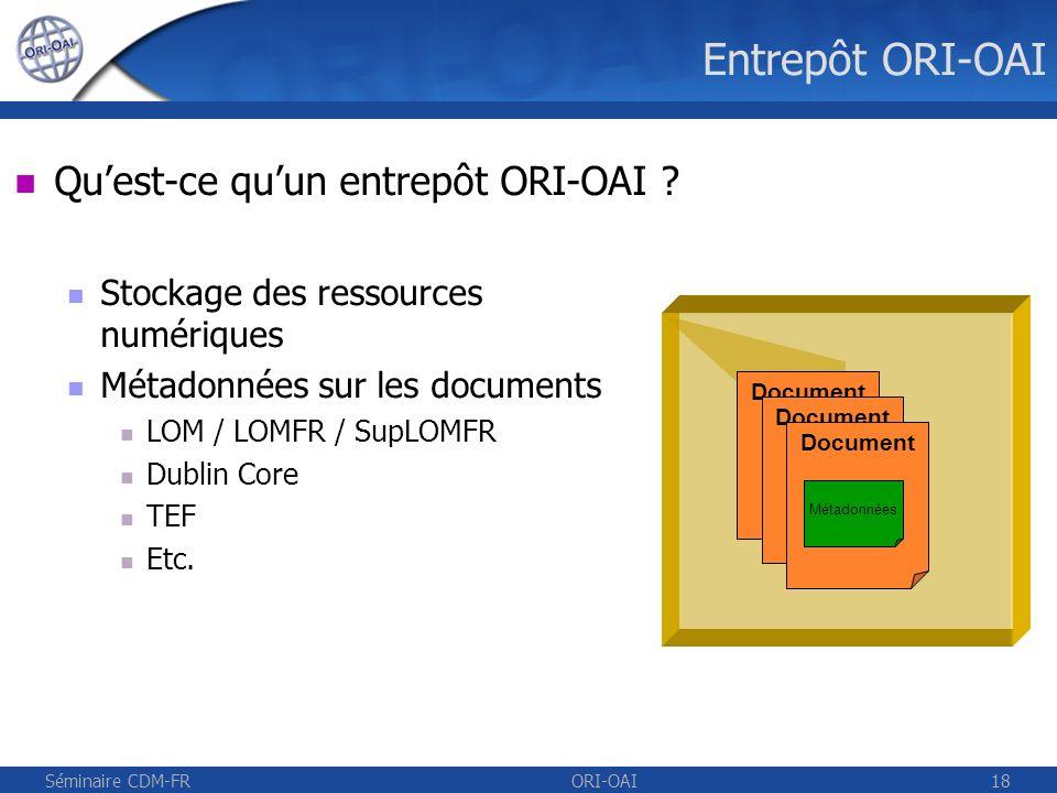 Séminaire CDM-FRORI-OAI19 Open Archive Initiative (OAI) Etablissement A Moissonneur UNT, UNR, … Entrepôt Etablissement B Entrepôt OAI