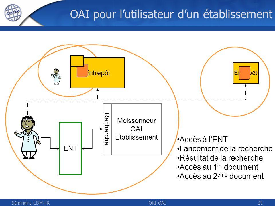 Séminaire CDM-FRORI-OAI22 UNIT Vue établissement Entrepôt OAI UNR UVED.eu ENT Moissonneur