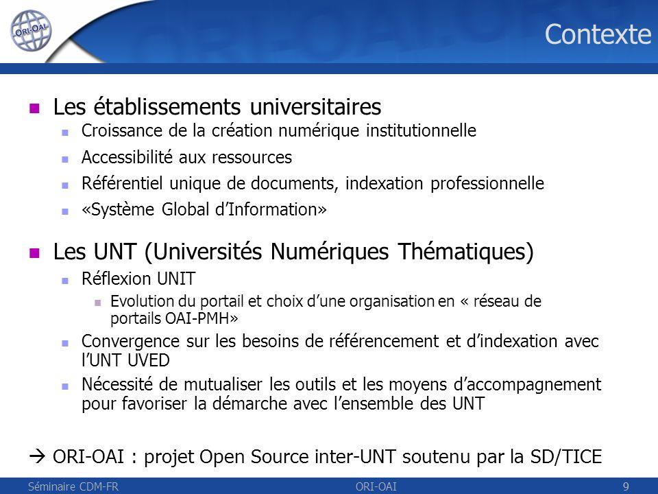 Séminaire CDM-FRORI-OAI10 Historique 2001-2004: SYNAPSE (INSA de Lyon) Gestion/publication des documents numériques 2003-2005: inJAC (ESUP Portail) Stockage de documents / OAI-PMH 2004-2005: UNIT Adopte le concept de réseau de portails OAI-PMH 2005-2006: Création du groupe de travail inter-UNT Elaboration des spécifications fonctionnelles 2006: Début des développements de ORI-OAI