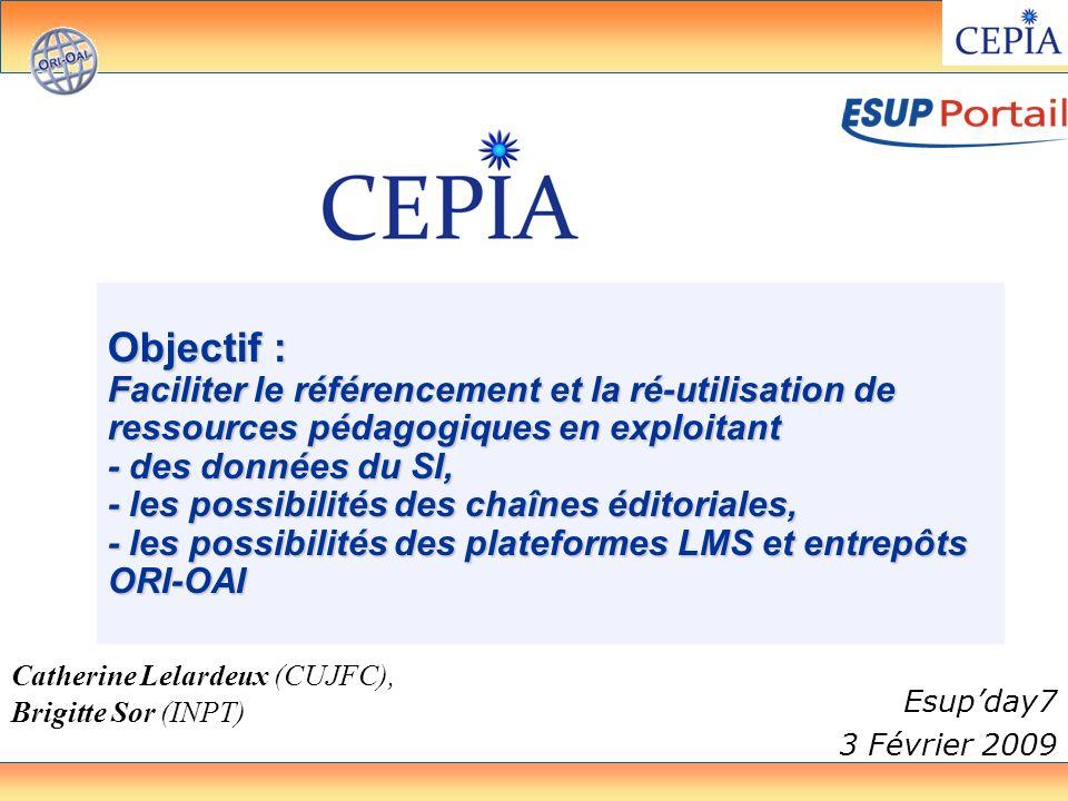 3 février 2009CEPIA32 IMS-CP LMS Moodle ORI-OAI Import/ export Auteur Administre Apprend Meta données organisation Contenus IntroductionContexte,objectifs Mise en oeuvre Evolutions