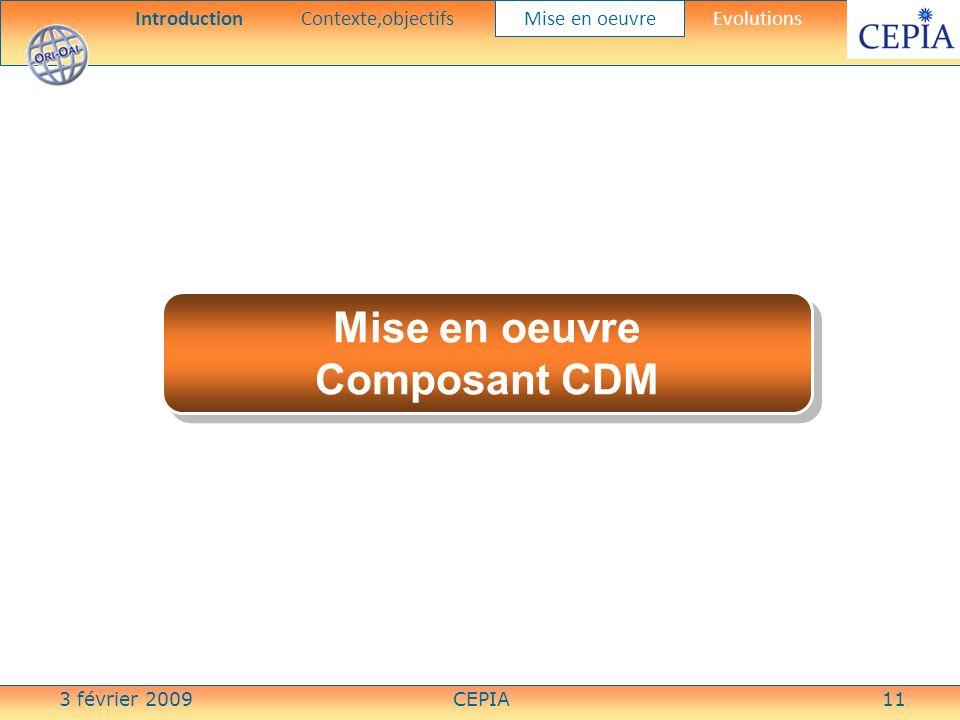 3 février 2009CEPIA11 Mise en oeuvre Composant CDM Mise en oeuvre Composant CDM IntroductionContexte,objectifs Mise en oeuvre Evolutions