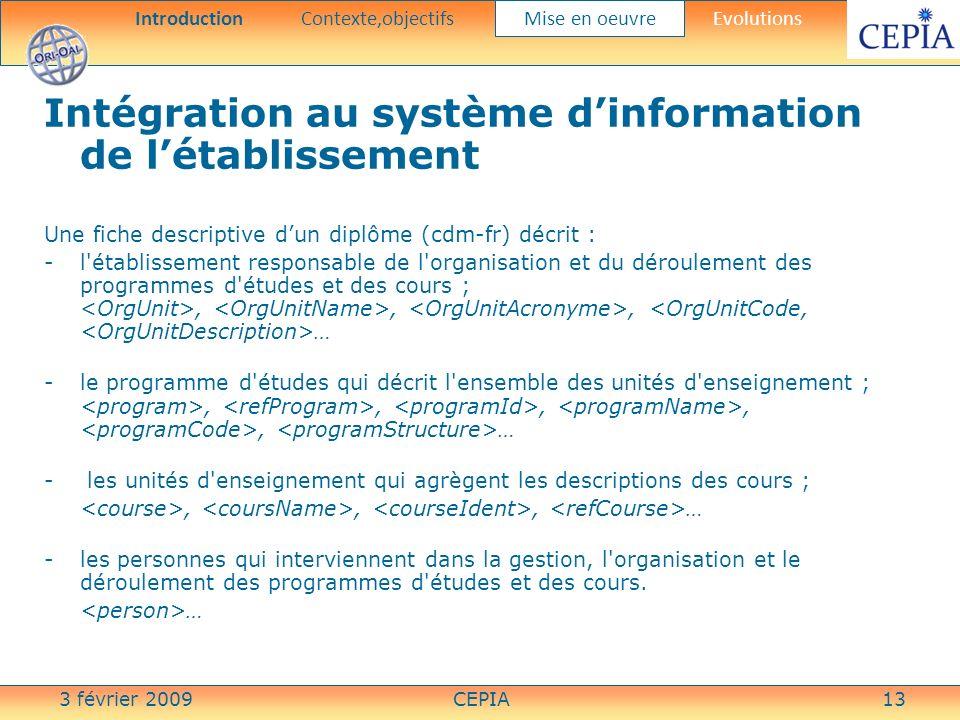 3 février 2009CEPIA13 Intégration au système dinformation de létablissement Une fiche descriptive dun diplôme (cdm-fr) décrit : -l'établissement respo