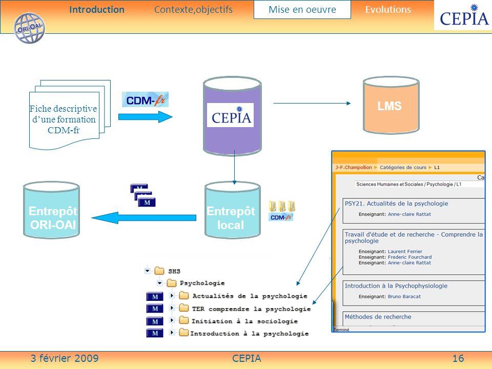 3 février 2009CEPIA16 Fiche descriptive dune formation CDM-fr Entrepôt local CEPIA Entrepôt ORI-OAI LMS IntroductionContexte,objectifs Mise en oeuvre