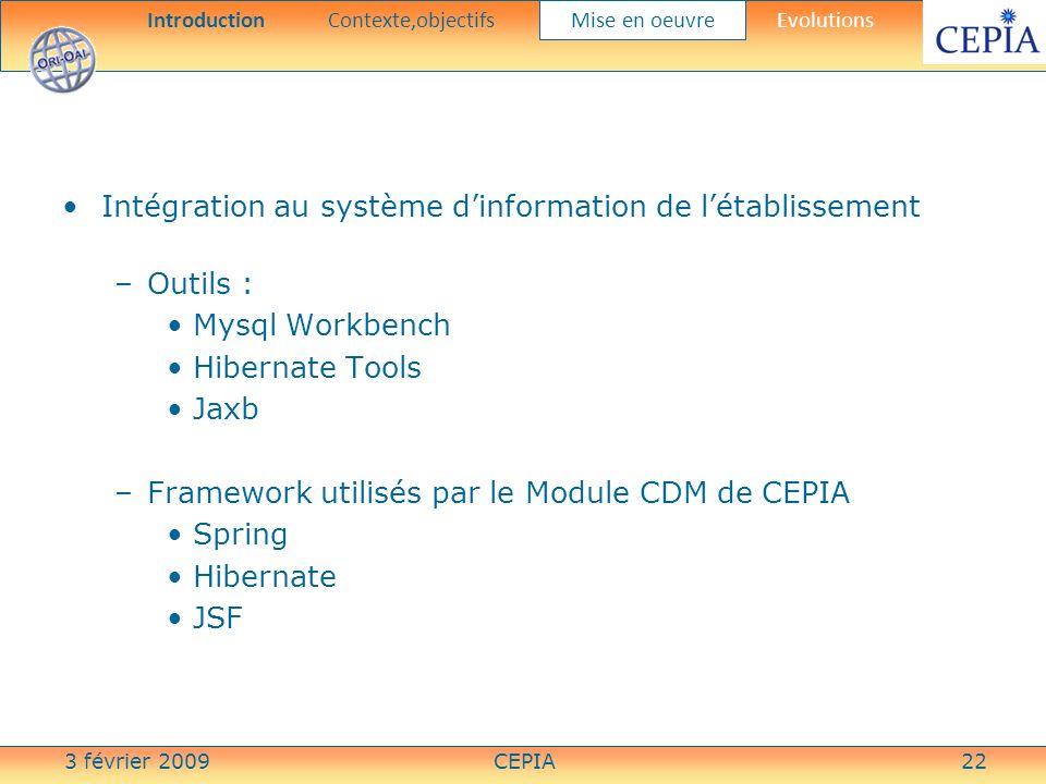 3 février 2009CEPIA22 Intégration au système dinformation de létablissement –Outils : Mysql Workbench Hibernate Tools Jaxb –Framework utilisés par le