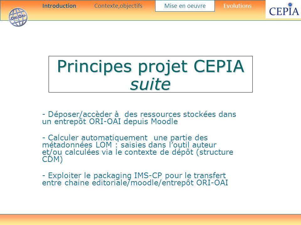 Principes projet CEPIA suite - Déposer/accèder à des ressources stockées dans un entrepôt ORI-OAI depuis Moodle - Calculer automatiquement une partie