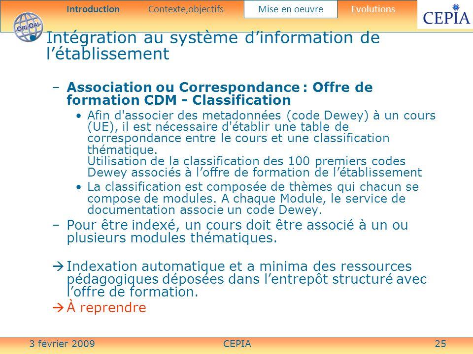 3 février 2009CEPIA25 Intégration au système dinformation de létablissement –Association ou Correspondance : Offre de formation CDM - Classification A