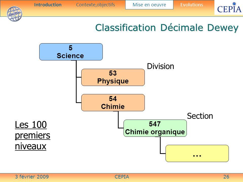 3 février 2009CEPIA26 Les 100 premiers niveaux 5 Science 53 Physique 54 Chimie 547 Chimie organique … Division Section Classification Décimale Dewey I