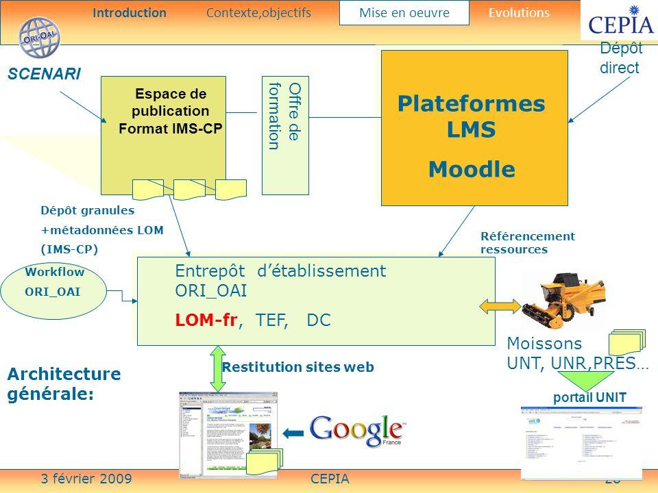 3 février 2009CEPIA28 Entrepôt détablissement ORI_OAI LOM-fr, TEF, DC Plateformes LMS Moodle Espace de publication Format IMS-CP Dépôt granules +métad