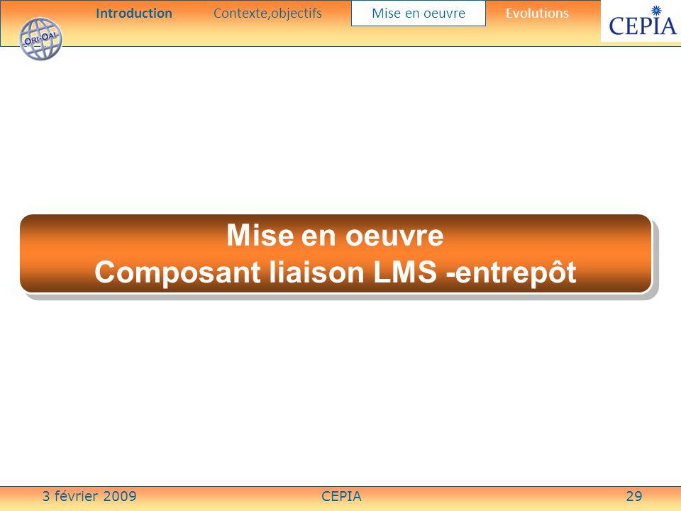 3 février 2009CEPIA29 Mise en oeuvre Composant liaison LMS -entrepôt Mise en oeuvre Composant liaison LMS -entrepôt IntroductionContexte,objectifs Mis