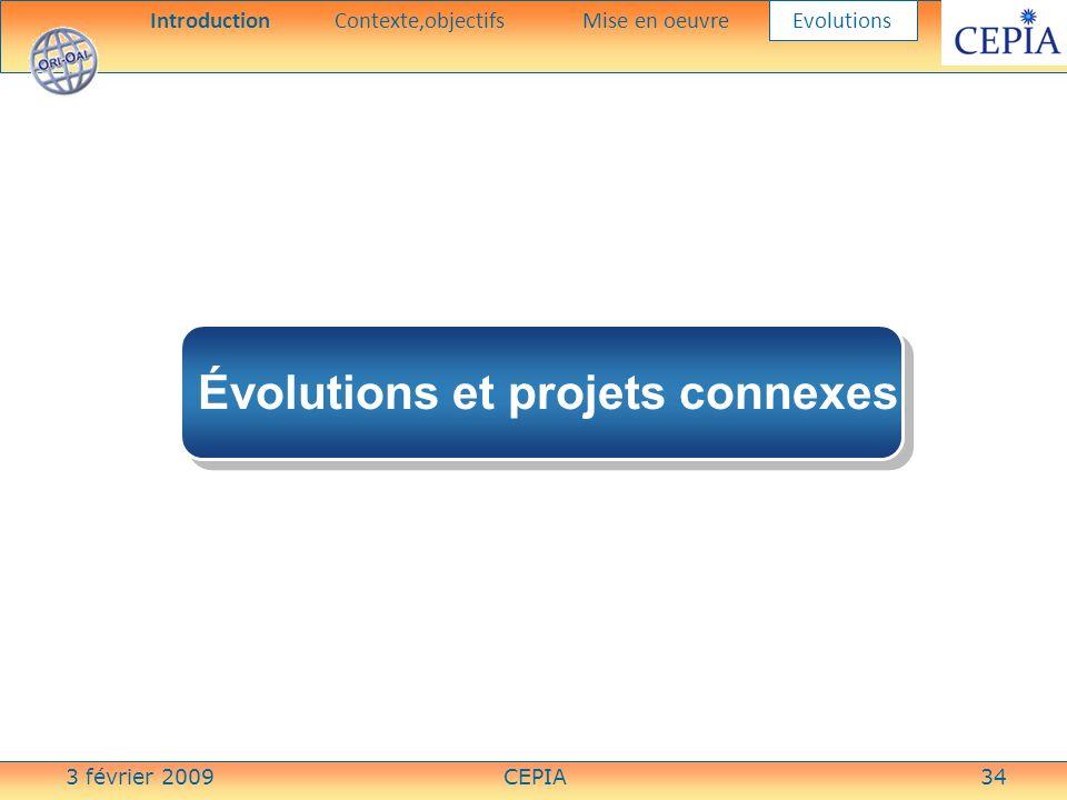 3 février 2009CEPIA34 Évolutions et projets connexes IntroductionContexte,objectifsMise en oeuvre Evolutions
