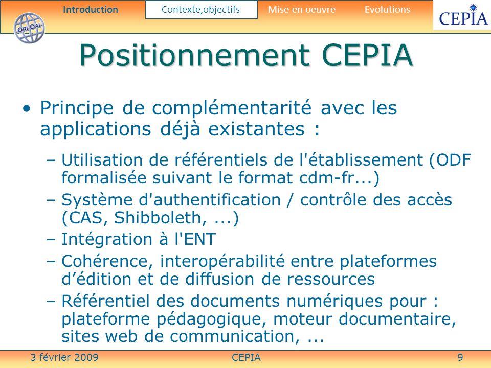 3 février 2009CEPIA10 Offre de formation CEPIA Calcul automatique de méta- données en fonction du contexte dédition et de dépôt dans le LMS Introduction Contexte,objectifs Mise en oeuvreEvolutions