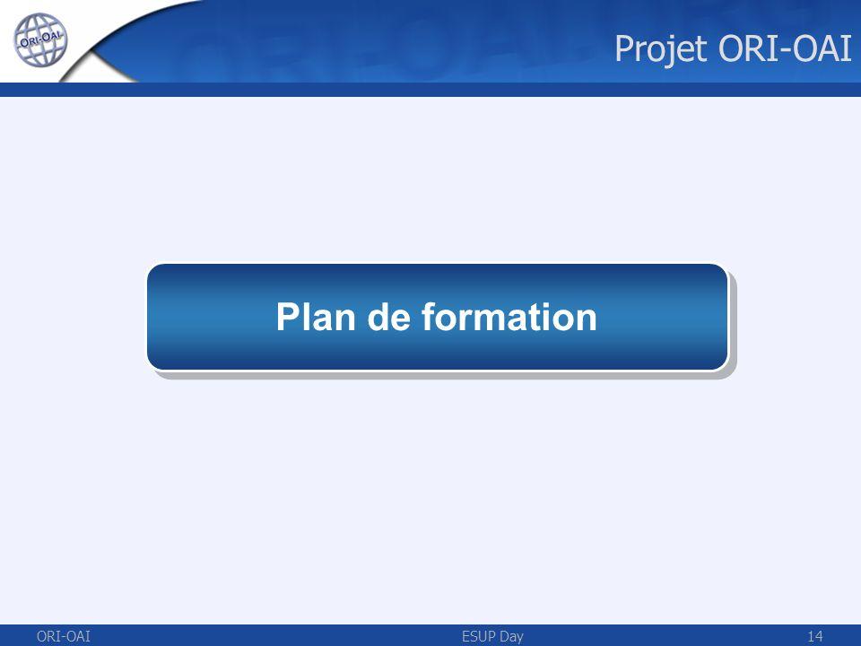 ORI-OAIESUP Day14 Plan de formation Projet ORI-OAI