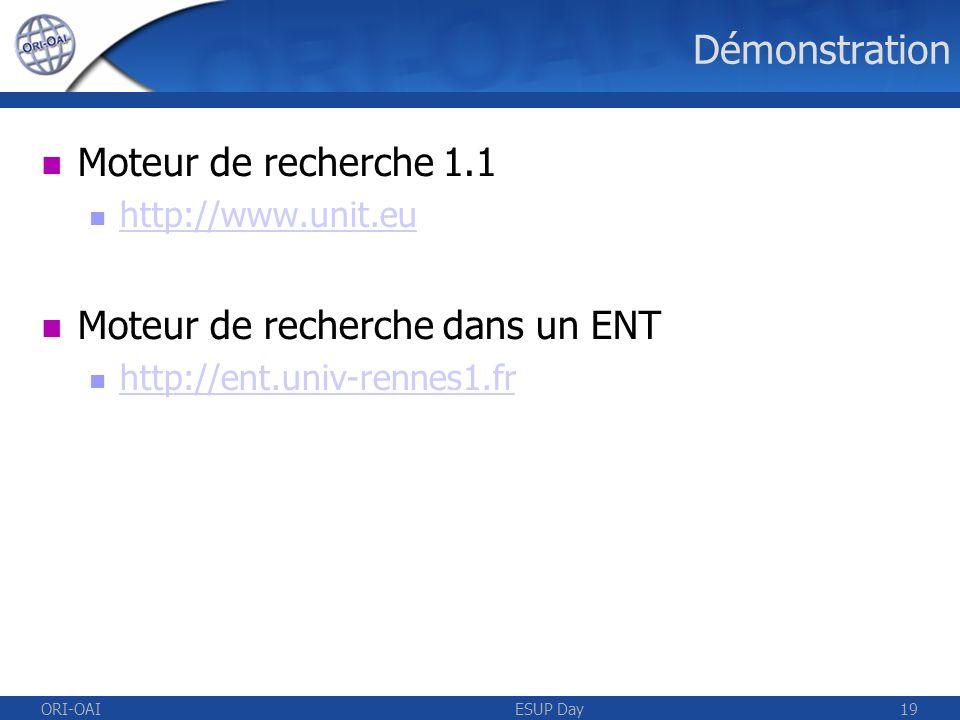 ORI-OAIESUP Day19 Démonstration Moteur de recherche 1.1 http://www.unit.eu Moteur de recherche dans un ENT http://ent.univ-rennes1.fr