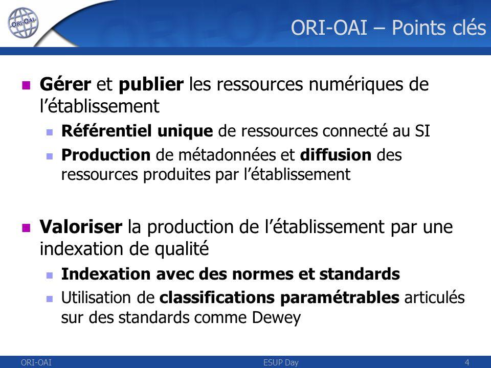 ORI-OAIESUP Day4 ORI-OAI – Points clés Gérer et publier les ressources numériques de létablissement Référentiel unique de ressources connecté au SI Production de métadonnées et diffusion des ressources produites par létablissement Valoriser la production de létablissement par une indexation de qualité Indexation avec des normes et standards Utilisation de classifications paramétrables articulés sur des standards comme Dewey
