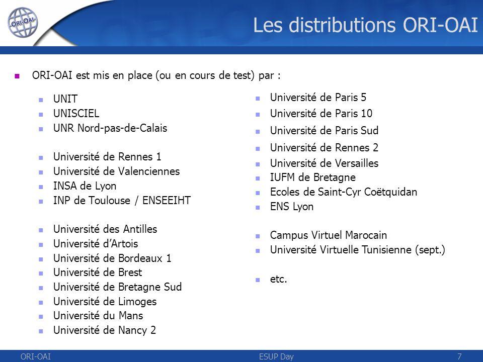 ORI-OAIESUP Day8 Version 1.0 Disponible depuis octobre 2007 Supporte différents types de documents Édition de métadonnées Ressources pédagogiques (LOM) Ressources « génériques » (Dublin Core) Moissonnage par OAI de ressources extérieures Tout format de métadonnées Pré-configuré pour Dublin Core, LOM et CDM Types dinstallation De production Configuration avancée De démonstration Auto-install dune application Windows