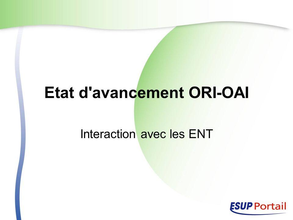 Etat d avancement ORI-OAI Interaction avec les ENT