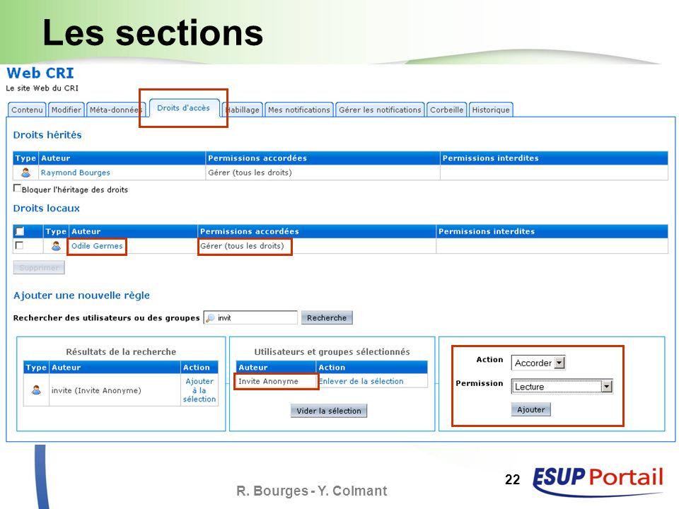 R. Bourges - Y. Colmant 22 Les sections