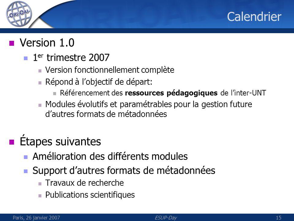 Paris, 26 janvier 2007ESUP-Day16 Démonstration de la recherche