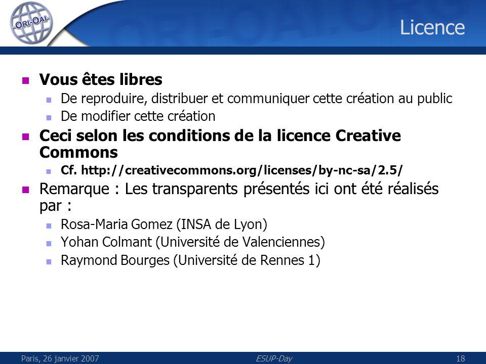 Paris, 26 janvier 2007ESUP-Day18 Licence Vous êtes libres De reproduire, distribuer et communiquer cette création au public De modifier cette création Ceci selon les conditions de la licence Creative Commons Cf.