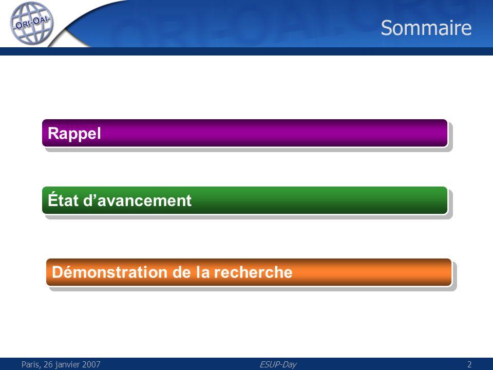 ESUP-Day2 Sommaire Rappel État davancement Démonstration de la recherche