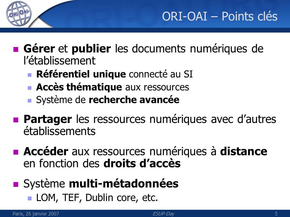 Paris, 26 janvier 2007ESUP-Day5 ORI-OAI – Points clés Gérer et publier les documents numériques de létablissement Référentiel unique connecté au SI Accès thématique aux ressources Système de recherche avancée Partager les ressources numériques avec dautres établissements Accéder aux ressources numériques à distance en fonction des droits daccès Système multi-métadonnées LOM, TEF, Dublin core, etc.