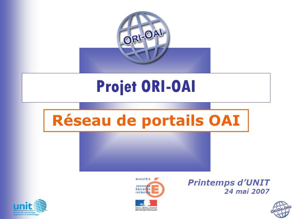 Projet ORI-OAI Réseau de portails OAI Printemps dUNIT 24 mai 2007
