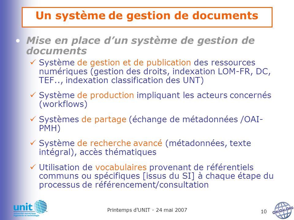 Printemps d'UNIT - 24 mai 2007 10 Un système de gestion de documents Mise en place dun système de gestion de documents Système de gestion et de public