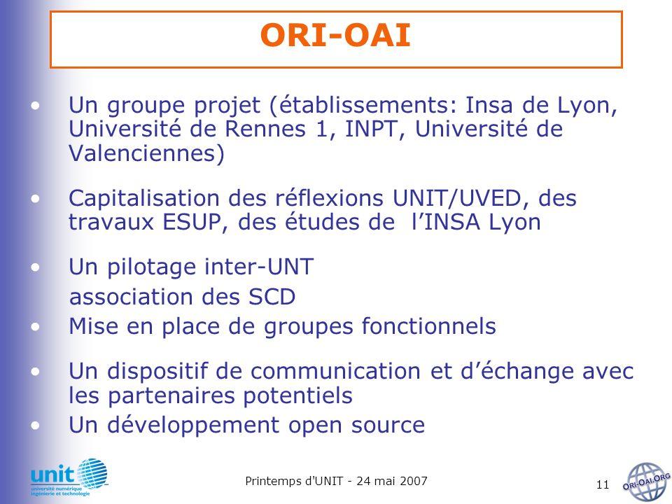 Printemps d'UNIT - 24 mai 2007 11 ORI-OAI Un groupe projet (établissements: Insa de Lyon, Université de Rennes 1, INPT, Université de Valenciennes) Ca