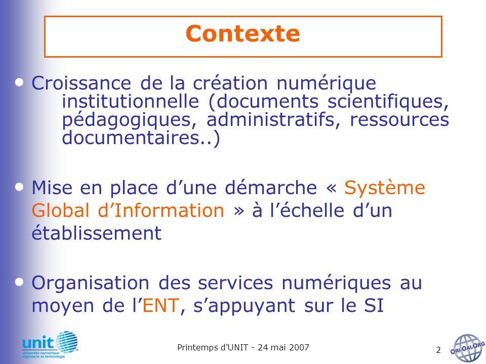 Printemps d UNIT - 24 mai 2007 3 Besoin dun référentiel unique de documents et dune indexation professionnelle Demande croissante daccessibilité aux ressources numériques dans différents contextes La structuration importante initiée par les projets nationaux (UNT, UNR, Système Information d établissement) Contexte