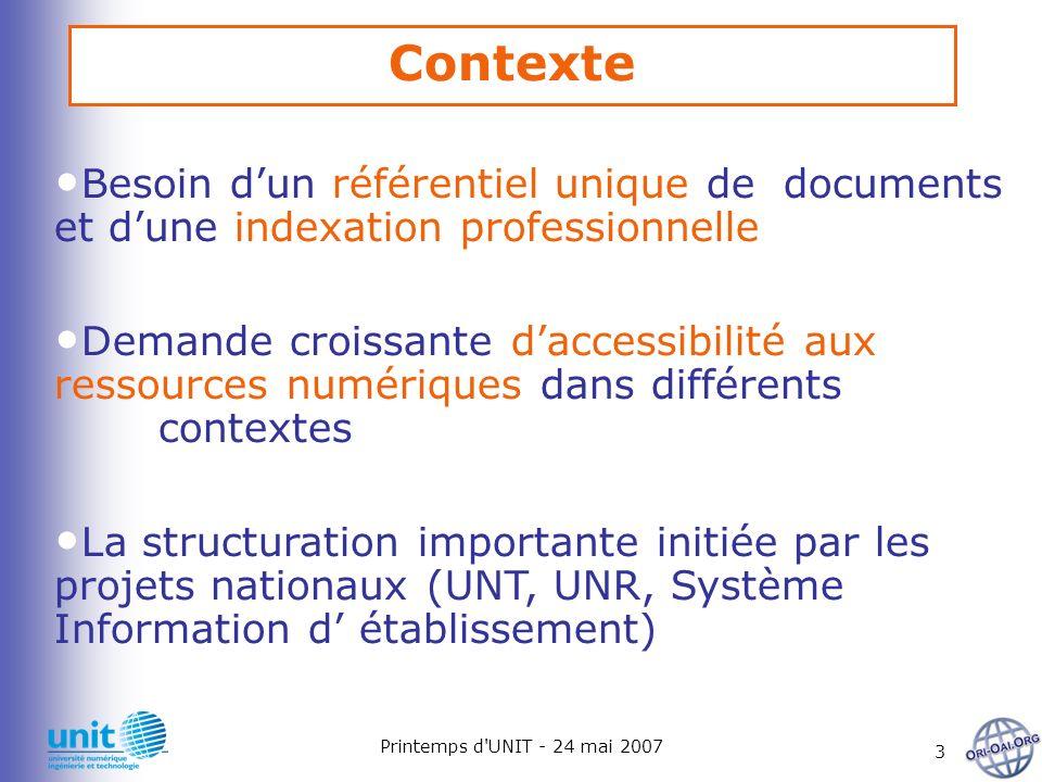 Printemps d'UNIT - 24 mai 2007 3 Besoin dun référentiel unique de documents et dune indexation professionnelle Demande croissante daccessibilité aux r
