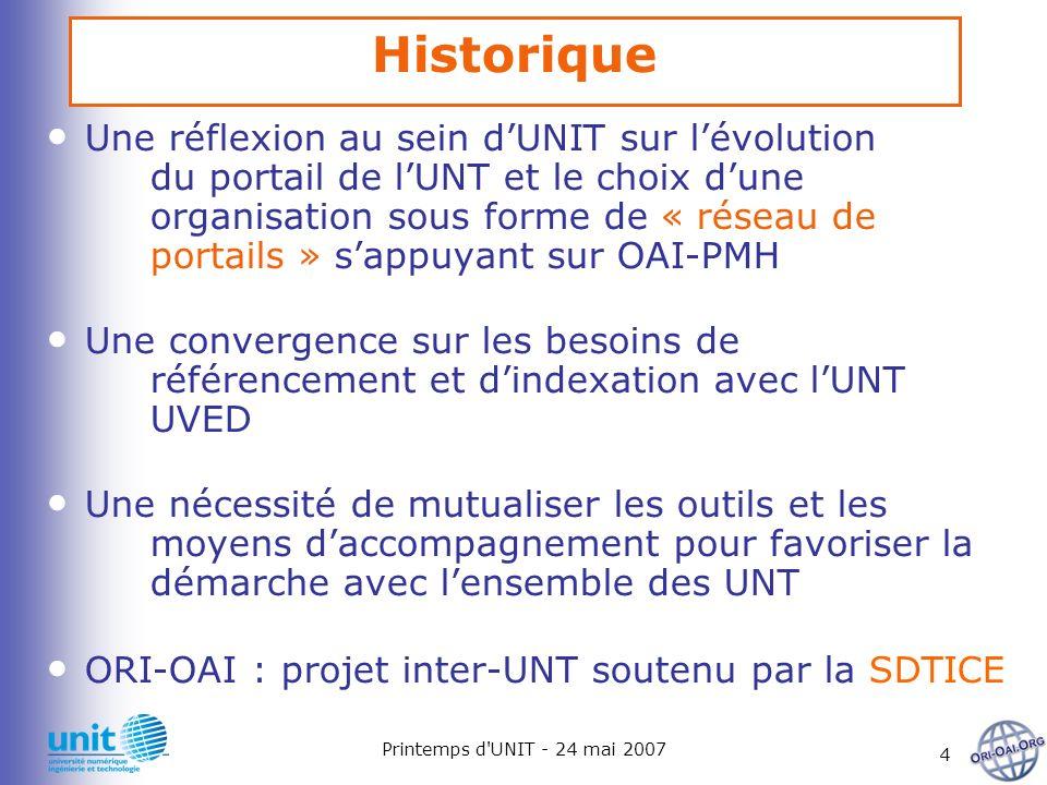 Printemps d'UNIT - 24 mai 2007 4 Historique Une réflexion au sein dUNIT sur lévolution du portail de lUNT et le choix dune organisation sous forme de